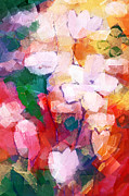 Floral Paintings - Cubic Flowers by Lutz Baar