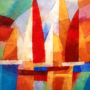 Sailboat Ocean Mixed Media Posters - Cubic Maritime Poster by Lutz Baar