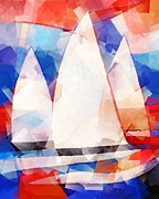 Sailboat Ocean Mixed Media Posters - Cubic Sails Poster by Lutz Baar