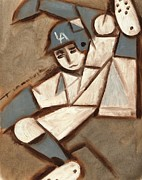 Baseball Art Framed Prints - Cubism LA Dodgers Baserunner Painting Framed Print by Tommervik