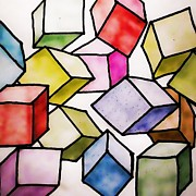 Drawn Prints - Cubism Print by Sharon Lisa Clarke