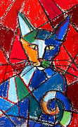 Reds Pastels Prints - Cubist Colorful Cat Print by EMONA Art