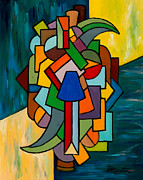 Stained Glass Mosaic Framed Prints - Cubist Dilemma Framed Print by Larry Martin