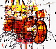 Sound Mixed Media Prints - Cubist Drums Print by Russell Pierce