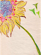 Floral Drawings Originals - Cubist Flowers by Lois Picasso