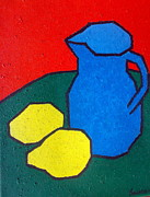 Challenging Painting Prints - Cubist Jug and Lemons Print by Tis Art