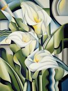 Green Leaves Posters - Cubist lilies Poster by Catherine Abel