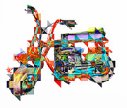 Fun Mixed Media Prints - Cubist Mini Bike Print by Russell Pierce