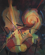 Jazz Artwork Painting Originals - Cubist Play - Abstract Cello by Susanne Clark