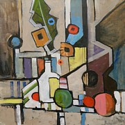 Mjonesart Prints - Cubist Still Life with a Guitar Print by Micheal Jones