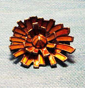 Mexico Jewelry - Cubist Sunflowers Gold over Sterling Vintage Jewelry Art by Lois Picasso
