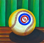 Chicago Cubs Paintings - Cubs baseball ball by Carla Bank