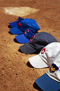Yankees. Red Sox Prints - Cubs Hats Print by Marc Henderson