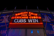 Night Game Framed Prints - Cubs Win Framed Print by Steve Gadomski