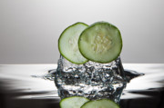 Cucumber Framed Prints - Cucumber FreshSplash Framed Print by Steve Gadomski