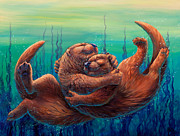 Otter Paintings - Cuddles and Bubbles by Beth Davies
