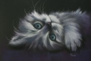 Cute Cat Pastels Prints - Cuddles Print by Cynthia House