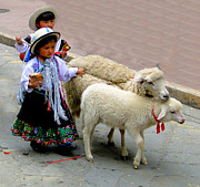 Sheep Tapestries Textiles - Cuenca Kids 233 by Al Bourassa
