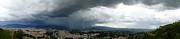 Photographer Lightning Posters - Cuenca Storm Panorama Poster by Al Bourassa
