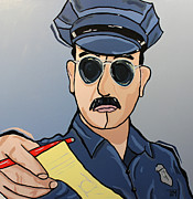 Law Enforcement Painting Posters - Cuff Em n Stuff Em Poster by Tim Ross