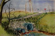 Stop Sign Pastels - Culverts by Tim  Swagerle