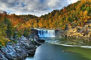 Scenes From Far And Near Framed Prints - Cumberland Falls In Autumn Framed Print by Mel Steinhauer