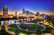 Nashville Tennessee Posters - Cumberland Park and Nashville Skyline Poster by Lucas Foley