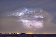 Cumulo-nimbus Lightning Storm And Star Trails Above Print by James BO  Insogna