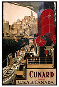 Shipping Digital Art Posters - Cunard Poster by Nomad Art And  Design