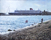 Docks Paintings - Cunard Queen Mary as seen from Weston Shore by Martin Davey