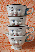 Mugs Posters - Cup faces Poster by Garry Gay