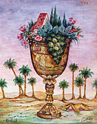 Jerusalem Painting Metal Prints - Cup of Blessing Metal Print by Michoel Muchnik