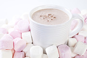 Pink White Framed Prints - Cup of Chocolate and Marshmallows Framed Print by Colin and Linda McKie