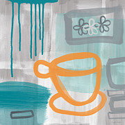 Grey Blue Prints - Cup Of Happiness Print by Linda Woods