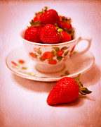 Red And Tea Prints - Cup of Strawberries Print by Sonja Quintero