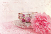 Doily Framed Prints - Cup of Tea Framed Print by Kay Pickens