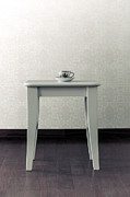Porcelain-white.           Posters - Cup On Stool Poster by Joana Kruse