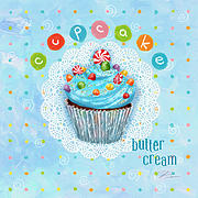 Cupcake Framed Prints - Cupcake-Butter Cream Framed Print by Shari Warren