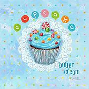 Cupcake-butter Cream Print by Shari Warren