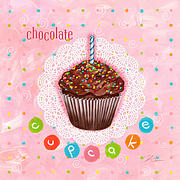 Cupcake Framed Prints - Cupcake-Chocolate Framed Print by Shari Warren