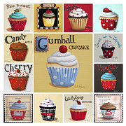 Cupcake Art Posters - Cupcake Collage Poster by Catherine Holman