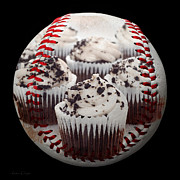 Baseballs Mixed Media Posters - Cupcake Cuties Baseball Square Poster by Andee Photography