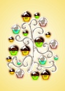 Cute Mixed Media Framed Prints - Cupcake Glass Tree Framed Print by Anastasiya Malakhova