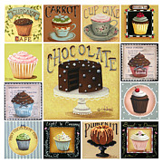 Cherry Art Metal Prints - Cupcake Mosaic Metal Print by Catherine Holman