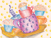 Tea Party Drawings - Cupcake Party by Chu-Hua Mou