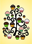 Cute Mixed Media Framed Prints - Cupcake Tree Framed Print by Anastasiya Malakhova