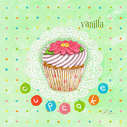 Cake Mixed Media Framed Prints - Cupcake-Vanilla Framed Print by Shari Warren