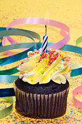 Candle Lit Prints - Cupcake with candle Print by Joe Belanger