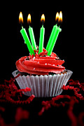 Frosting Prints - Cupcake with Candles and Flames Print by Cindy Singleton