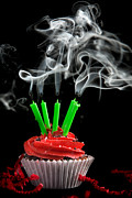 Cupcake Photography Prints - Cupcake with Candles Blown Out Print by Cindy Singleton